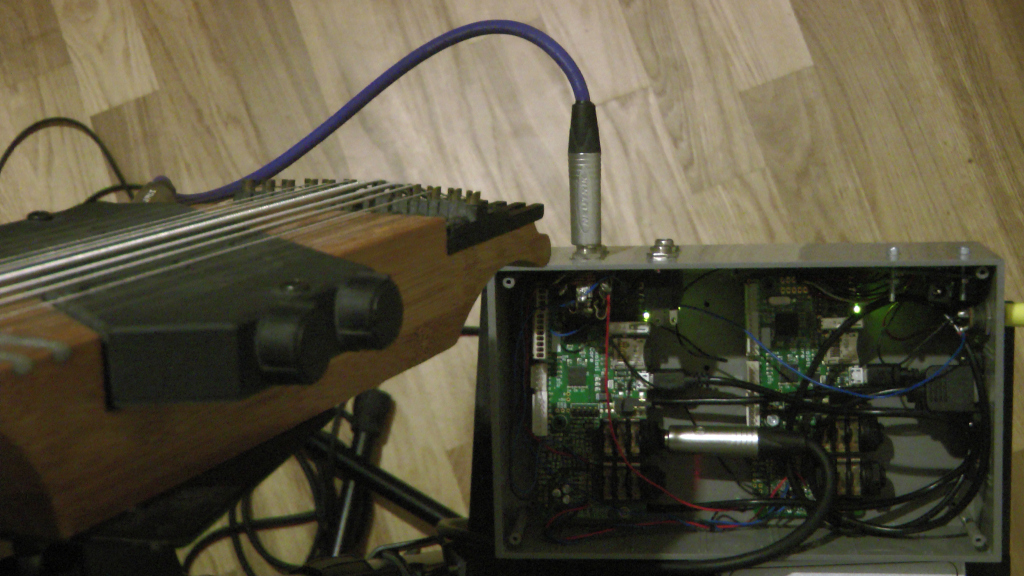 Exposed Axoloti boards feeding on a Chapman Stick audio signal