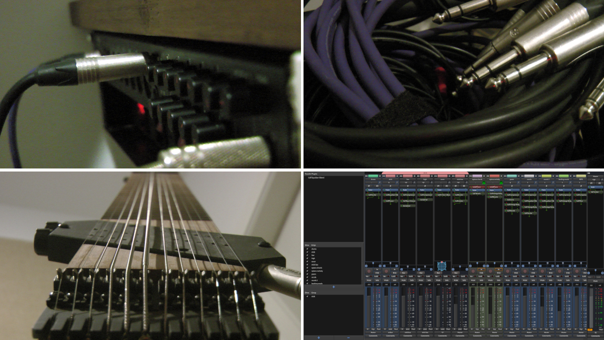 Collage of cables, a rack-mounted USB audio interface, a Chapman Stick, and a screenshot of Ardour