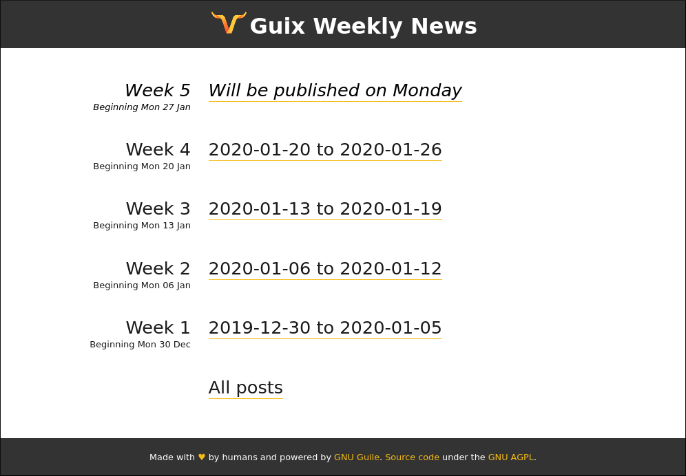 Screenshot of the prototype weekly news site