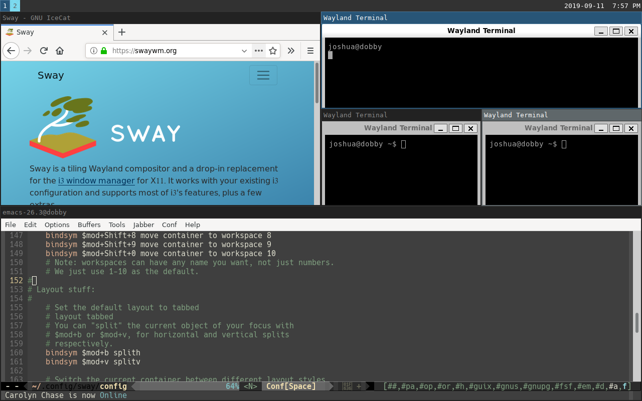 Sway window manager running wayland